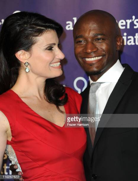 Actress Idina Menzel and actor Taye Diggs arrive at the 19th Annual 'A Night At Sardi's' Fundraiser And Awards Dinner Arrivals on March 16 2011 in...