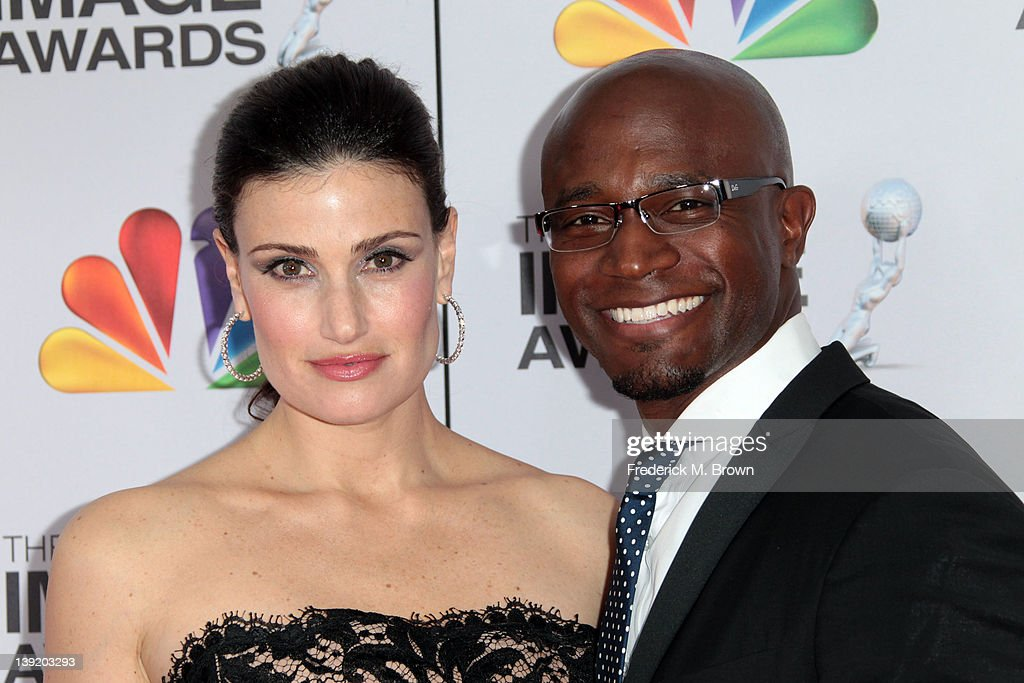 Actress <a gi-track='captionPersonalityLinkClicked' href=/galleries/search?phrase=Idina+Menzel&family=editorial&specificpeople=213583 ng-click='$event.stopPropagation()'>Idina Menzel</a> (L) and actor <a gi-track='captionPersonalityLinkClicked' href=/galleries/search?phrase=Taye+Diggs&family=editorial&specificpeople=206415 ng-click='$event.stopPropagation()'>Taye Diggs</a> arrive at the 43rd NAACP Image Awards held at The Shrine Auditorium on February 17, 2012 in Los Angeles, California.