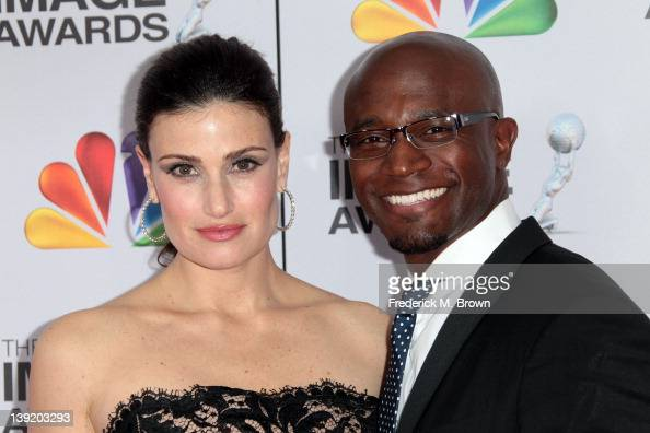 Actress Idina Menzel and actor Taye Diggs arrive at the 43rd NAACP Image Awards held at The Shrine Auditorium on February 17 2012 in Los Angeles...
