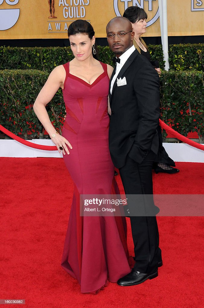 Actress Idina Menzel and actor Taye Diggs arrive for the 19th Annual Screen Actors Guild Awards - Arrivals held at The Shrine Auditorium on January 27, 2013 in Los Angeles, California.