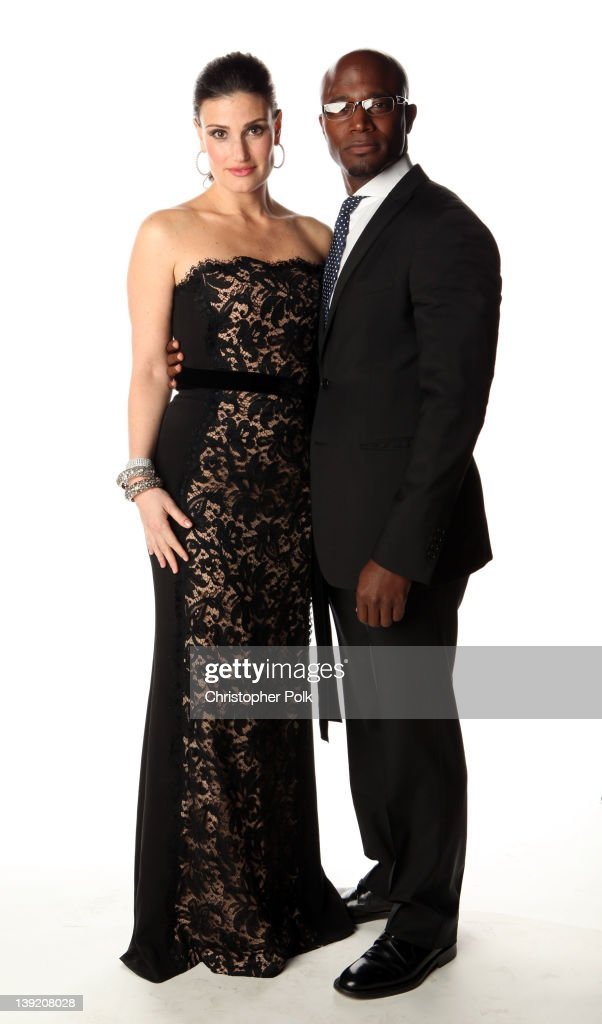 Actress Idina Menzel and actor Taye Diggs pose for a portrait at the 43rd NAACP Image Awards held at The Shrine Auditorium on February 17 2012 in Los...