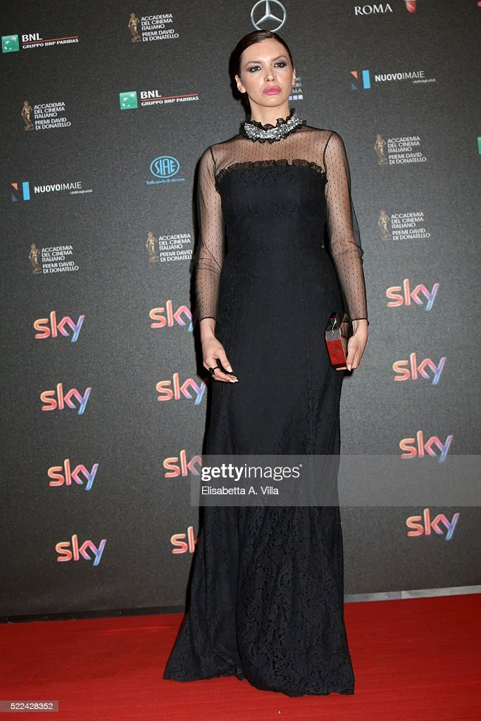 Actress Ilenia Pastorelli arrives at the 60. David di Donatello ceremony on April 18, 2016 in Rome, Italy.