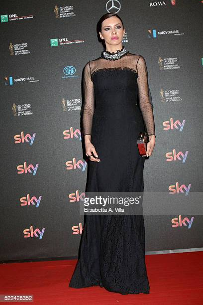 Actress Ilenia Pastorelli arrives at the 60 David di Donatello ceremony on April 18 2016 in Rome Italy