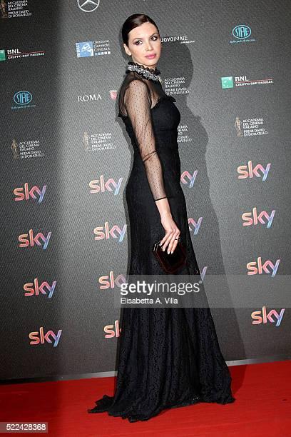 Actress Ilenia Pastorelli arrives at the 60 David di Donatello ceremony on April 18 2016 in Rome Italy