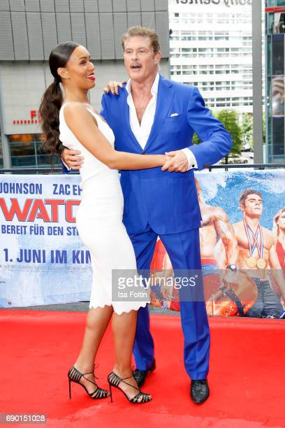 US actress Ilfenesh Hadera and US actor David Hasselhoff attend the 'Baywatch' Photo Call in Berlin on May 30 2017 in Berlin Germany