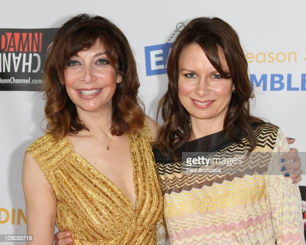 Actress Illeana Douglas and Mary Lynn Rajskub arrive at the 'Easy To Assemble' season 3 premiere at American Cinematheque's Egyptian Theatre on...