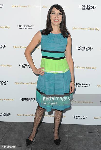 Actress Illeana Douglas arrives at the Los Angeles Premiere 'She's Funny That Way' at Harmony Gold on August 19 2015 in Los Angeles California