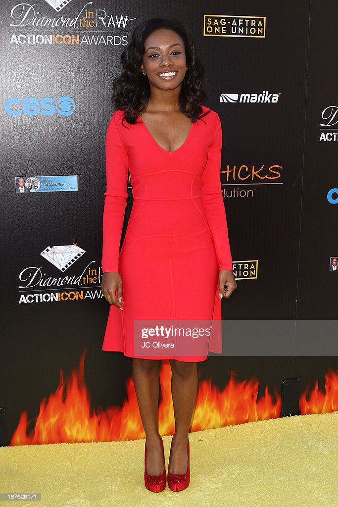 Actress <a gi-track='captionPersonalityLinkClicked' href=/galleries/search?phrase=Imani+Hakim&family=editorial&specificpeople=650105 ng-click='$event.stopPropagation()'>Imani Hakim</a> attends The 6th Annual Diamond In The RAW-Action Icon Awards at Skirball Cultural Center on November 10, 2013 in Los Angeles, California.