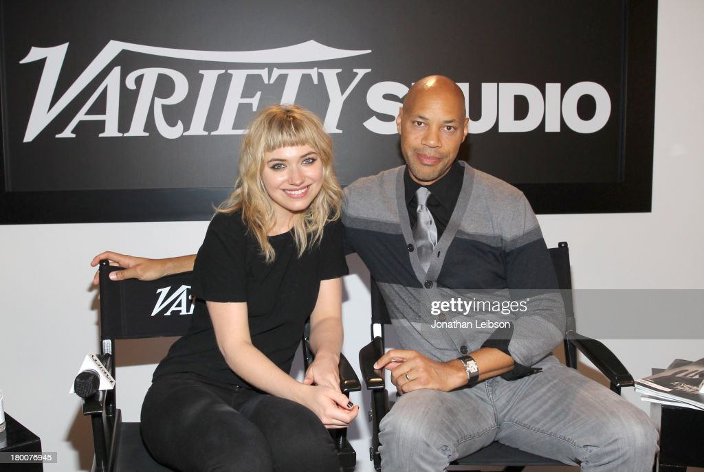 Actress <a gi-track='captionPersonalityLinkClicked' href=/galleries/search?phrase=Imogen+Poots&family=editorial&specificpeople=4265532 ng-click='$event.stopPropagation()'>Imogen Poots</a> and Director John Ridley attend Variety Studio Presented by Moroccanoil at Holt Renfrew during the 2013 Toronto International Film Festival on September 8, 2013 in Toronto, Canada.