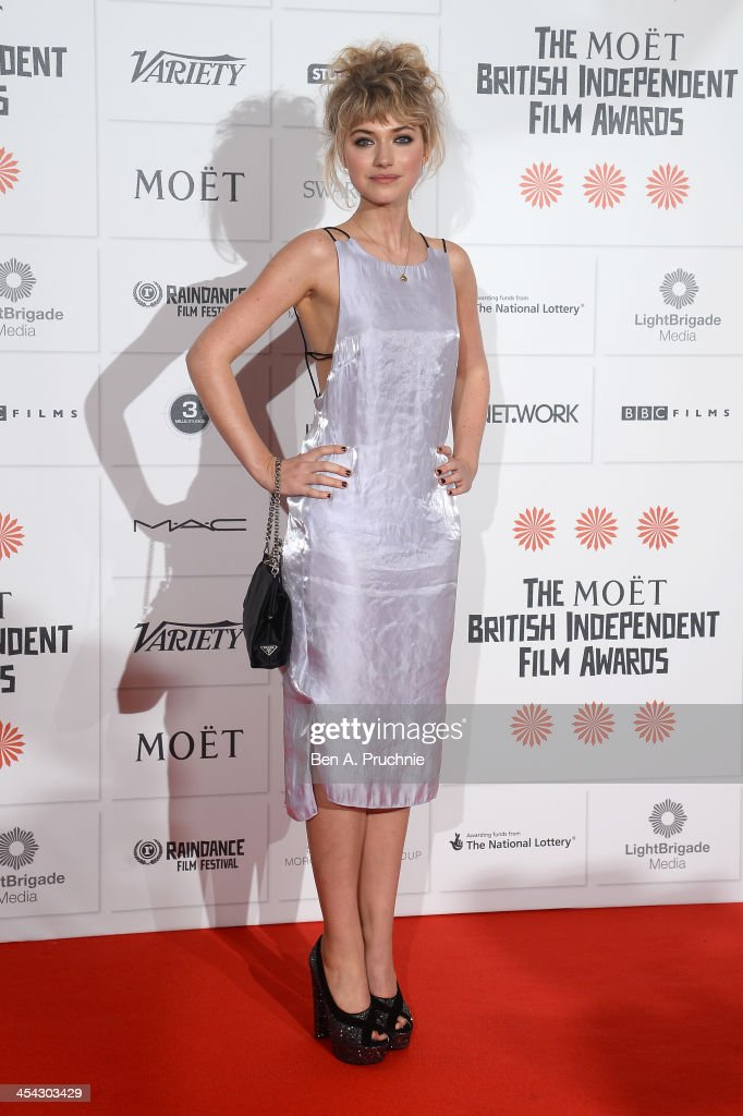 Actress Imogen Poots arrives on the red carpet for the Moet British Independent Film Awards at Old Billingsgate Market on December 8, 2013 in London, England.