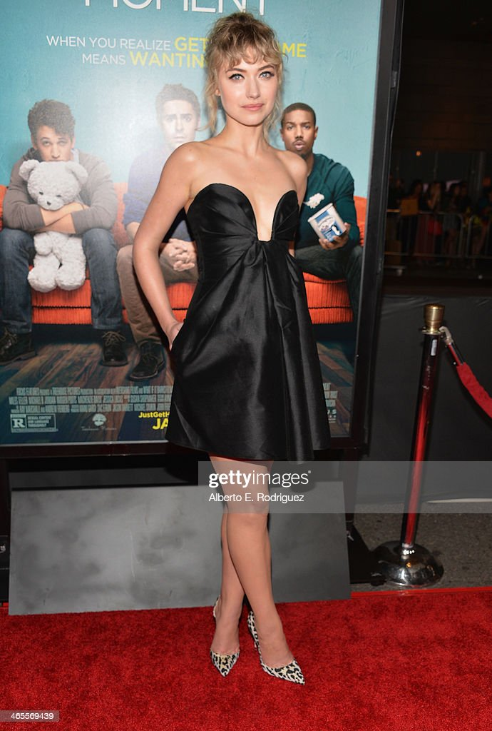 Actress Imogen Poots arrives to the premiere of Focus Features' 'That Awkward Moment' at Regal Cinemas LA Live on January 27 2014 in Los Angeles...