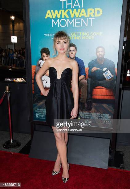 Actress Imogen Poots attends the Los Angeles Premiere of 'That Awkward Moment' at Regal Cinemas LA Live on January 27 2014 in Los Angeles California