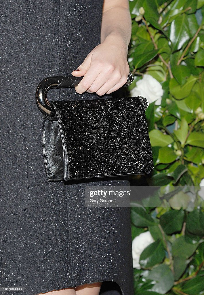 Actress Imogen Poots (bag detail) attends the Museum of Modern Art 2013 Film benefit - A Tribute To Tilda Swinton on November 5, 2013 in New York City.
