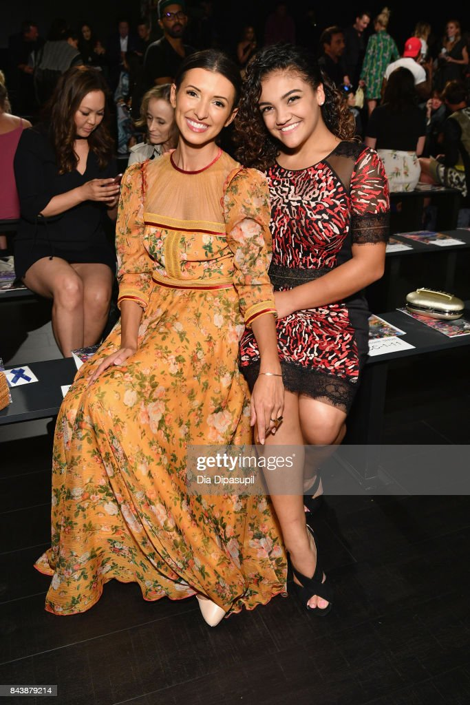 Actress India de Beaufort and American gymnast Laurie Hernandez attend the Tadashi Shoji fashion show during New York Fashion Week: The Shows at Gallery 1, Skylight Clarkson Sq on September 7, 2017 in New York City.