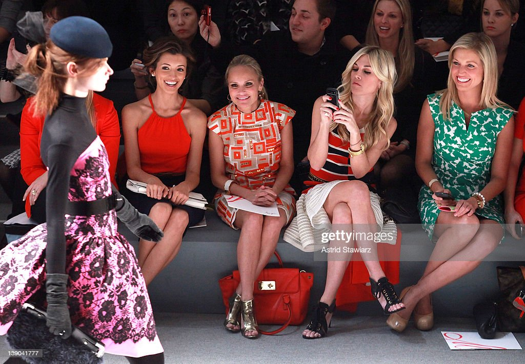 Actress India de Beaufort, Tinsley Mortimer, actress Kristin Chenoweth and Kimberly Guilfoyle attend the Milly By Michelle Smith Fall 2012 fashion show during Mercedes-Benz Fashion Week at The Stage at Lincoln Center on February 15, 2012 in New York City.