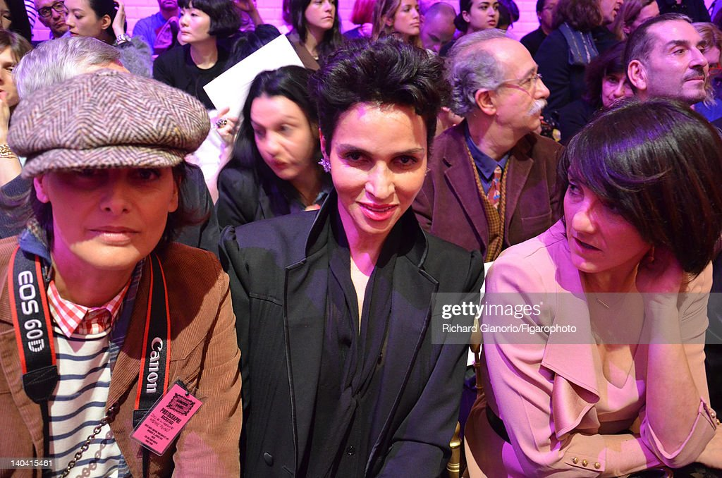 Actress <a gi-track='captionPersonalityLinkClicked' href=/galleries/search?phrase=Ines+de+la+Fressange&family=editorial&specificpeople=2078500 ng-click='$event.stopPropagation()'>Ines de la Fressange</a> is photographed with <a gi-track='captionPersonalityLinkClicked' href=/galleries/search?phrase=Farida+Khelfa&family=editorial&specificpeople=4866090 ng-click='$event.stopPropagation()'>Farida Khelfa</a> and <a gi-track='captionPersonalityLinkClicked' href=/galleries/search?phrase=Florence+Foresti&family=editorial&specificpeople=4946831 ng-click='$event.stopPropagation()'>Florence Foresti</a> for Madame Figaro, as their special photographer correspondent at the Spring/Summer 2012 Haute Couture fashion shows, on January 25, 2012 in Paris, France. PUBLISHED IMAGE. Figaro