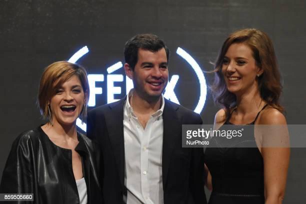 Actress Irene Azuela Rodrigo Penafiel and actress Johanna Murillo are seen during a press conference to promote Fenix Film Awards 2017 on October 09...