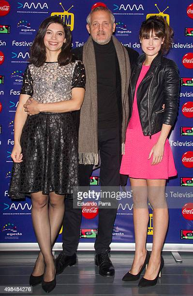 Actress Irene Visedo actor Jordi Rebellon and actress Elisabeth Larena attend 'Cuentame como paso' photocall at Matadero Madrid on November 23 2015...