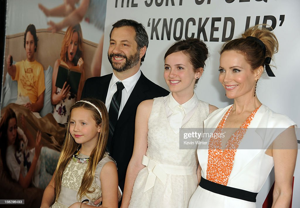 Actress Iris Apatow, director Judd Apatow, actress Maude Apatow and actress Leslie Mann attend the premiere of Universal Pictures' 'This Is 40' at Grauman's Chinese Theatre on December 12, 2012 in Hollywood, California.