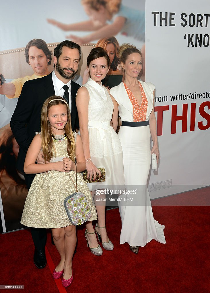Actress Iris Apatow, director Judd Apatow, Maude Apatow and Leslie Mann attend the premiere Of Universal Pictures' 'This Is 40' at Grauman's Chinese Theatre on December 12, 2012 in Hollywood, California.