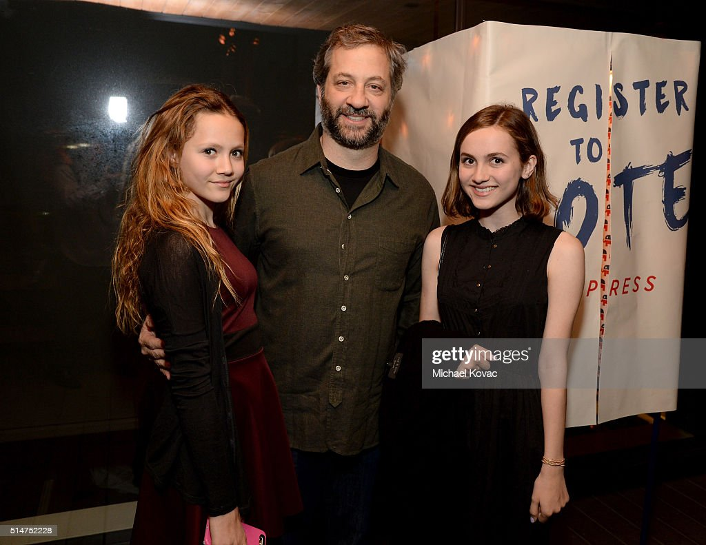 Actress Iris Apatow producer Judd Apatow and actress Maude Apatow attend TOMS Rock The Vote And Bad Robot Host 'VOTE2016' Conversation Regarding 2016...