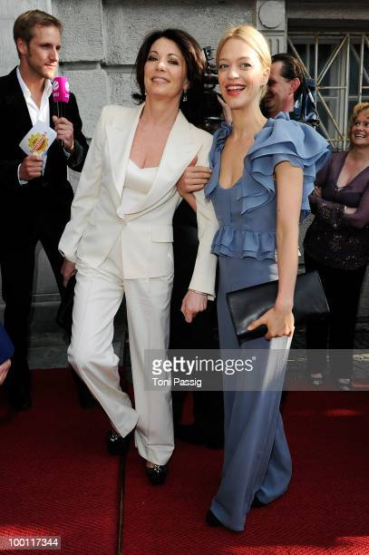 Actress Iris Berben and actress Heike Makatsch attend the 'Bayerischer Fernsehpreis 2010' at Prinzregententheater on May 21 2010 in Munich Germany