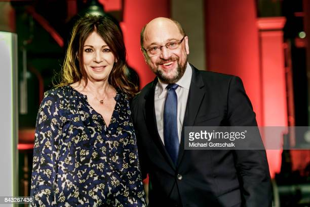 Actress Iris Berben and Martin Schulz SPD Party Leader and Top Candidate for 2017 Federal Election attend Kulturforum reception on September 04 2017...