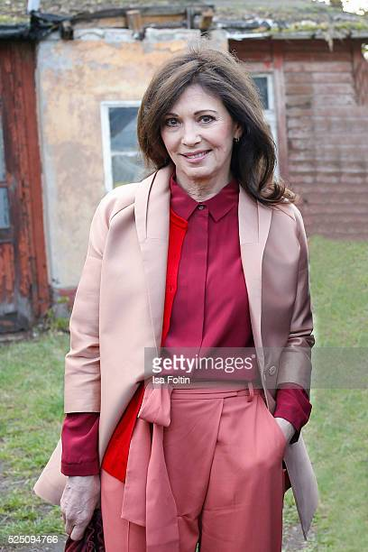 Actress Iris Berben wearing a dress of COS attends the presentation of a joint project by COS and Michael Sailstorfer on April 27 2016 in Berlin...