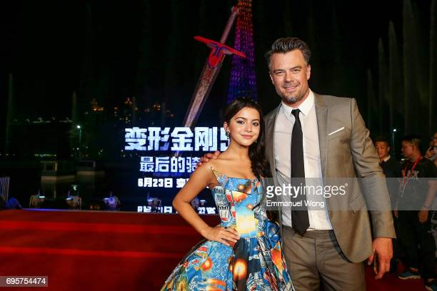 Actress Isabela Moner and Actor Josh Duhamel attend the 'Transformers The Last Knight' China World Premiere and Ten Year Anniversary Celebration at...