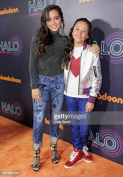 Actress Isabela Moner and Breanna Yde attend the 2016 Nickelodeon HALO awards at Basketball City Pier 36 South Street on November 11 2016 in New York...