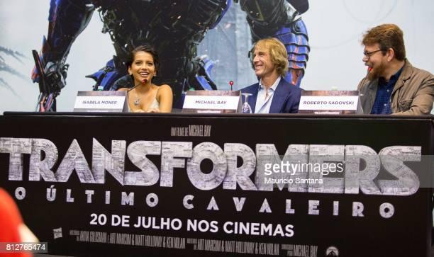 Actress Isabela Moner director Michael Bay and Roberto Sadovski attend the 'Transformers The Last Knight' Latin America press junket at Hotel Unique...