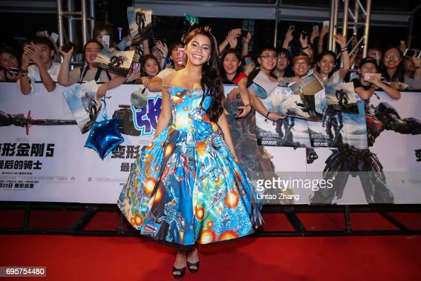 Actress Isabela Moner greets fans during the 'Transformers The Last Knight' China World Premiere and Ten Year Anniversary Celebration at Haixinsha...
