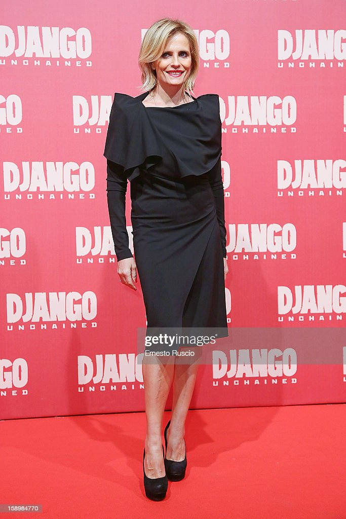 Actress Isabella Ferrari attends the 'Django Unchained' premiere at Cinema Adriano on January 4, 2013 in Rome, Italy.