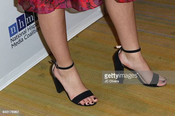 Actress Isabella Gomez shoes detail attends the 20th Annual National Hispanic Media Coalition Impact Awards Gala at Regent Beverly Wilshire Hotel on...