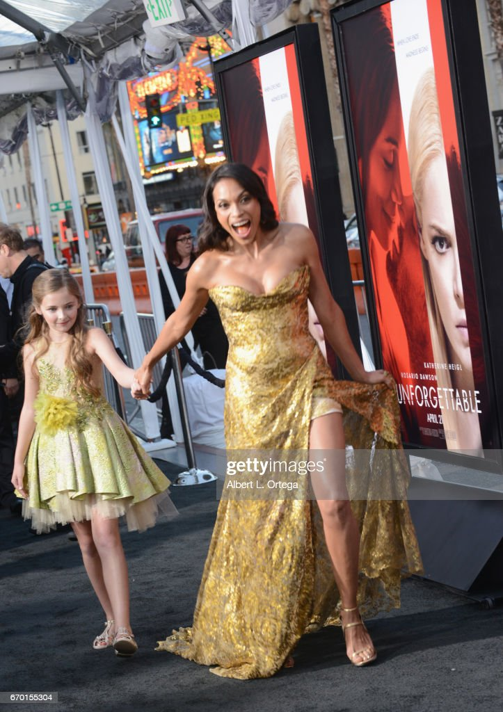 Actress Isabella Kai Rice and actress Rosario Dawson arrive for the Premiere Of Warner Bros. Pictures' 'Unforgettable' held at TCL Chinese Theatre on April 18, 2017 in Hollywood, California.