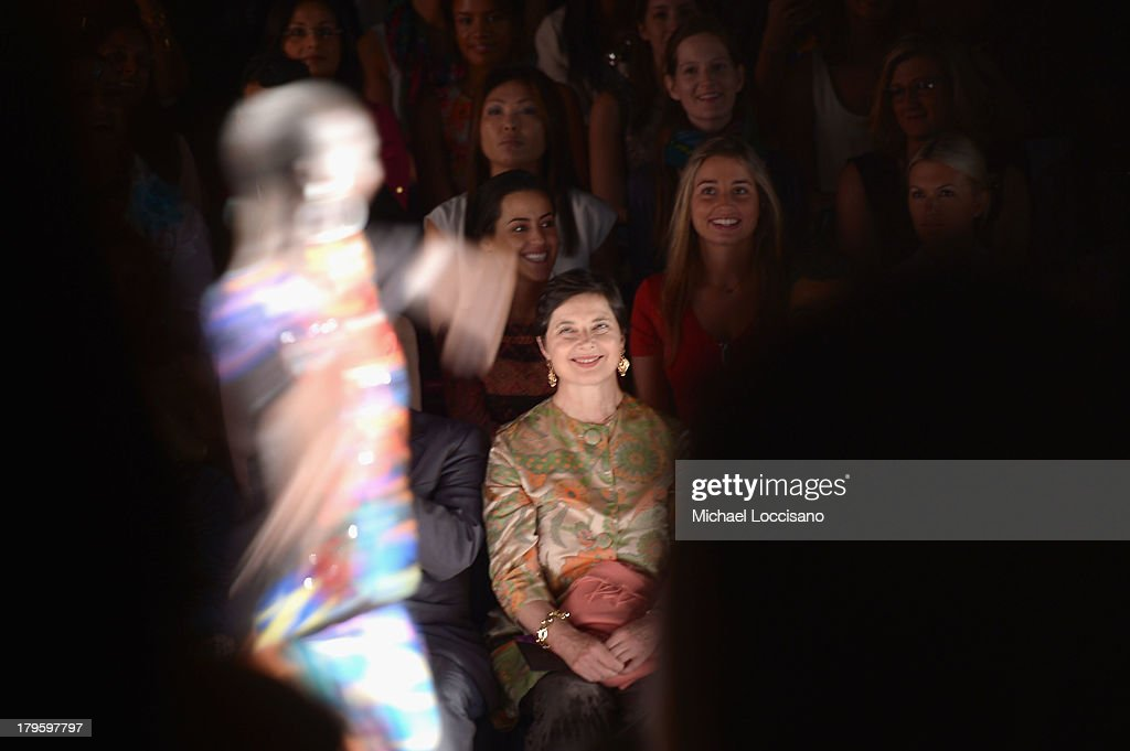 Actress <a gi-track='captionPersonalityLinkClicked' href=/galleries/search?phrase=Isabella+Rossellini&family=editorial&specificpeople=209153 ng-click='$event.stopPropagation()'>Isabella Rossellini</a> attends the Desigual Spring 2014 fashion show during Mercedes-Benz Fashion Week at The Theatre at Lincoln Center on September 5, 2013 in New York City.