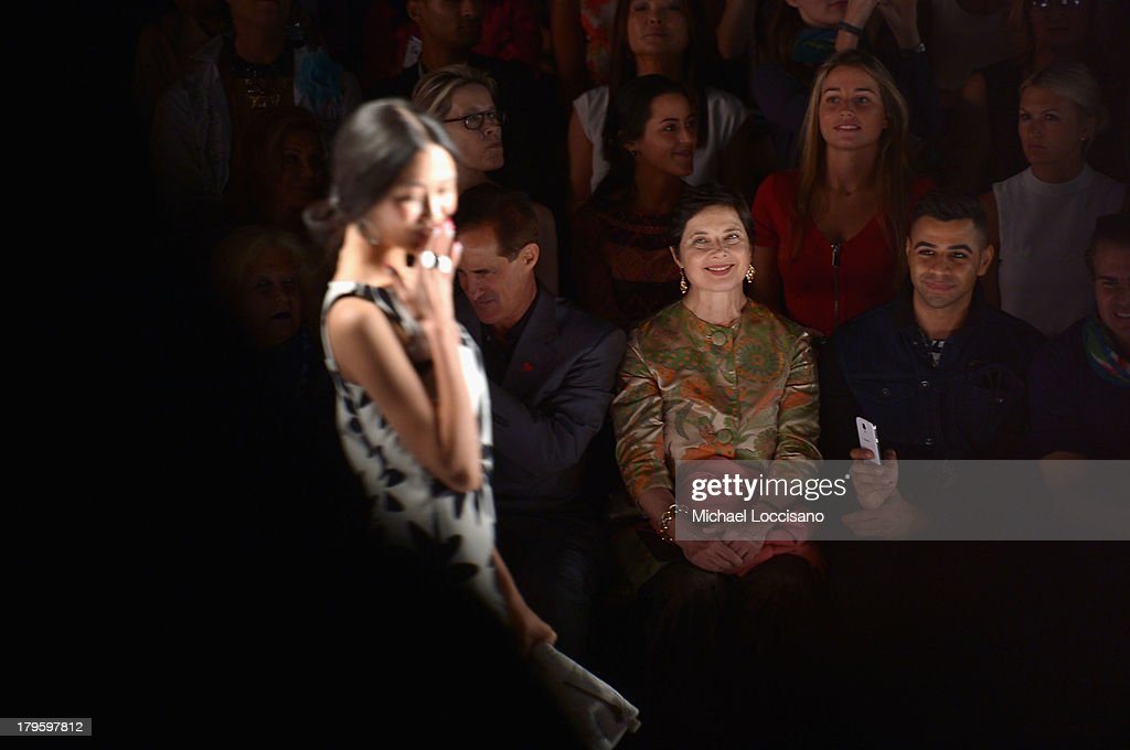Actress <a gi-track='captionPersonalityLinkClicked' href=/galleries/search?phrase=Isabella+Rossellini&family=editorial&specificpeople=209153 ng-click='$event.stopPropagation()'>Isabella Rossellini</a> (C) attends the Desigual Spring 2014 fashion show during Mercedes-Benz Fashion Week at The Theatre at Lincoln Center on September 5, 2013 in New York City.