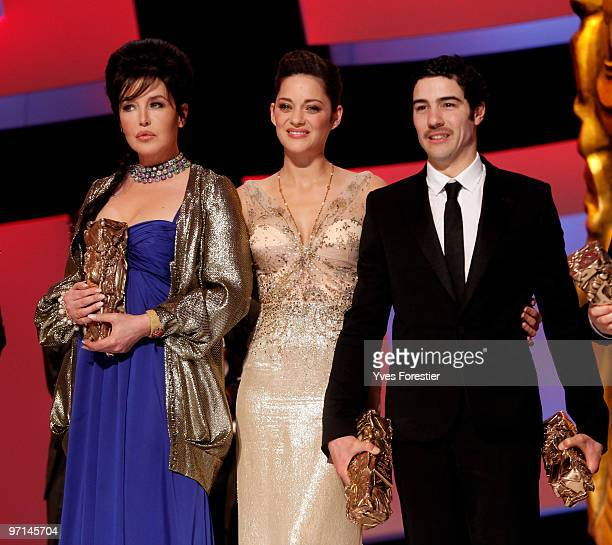 Actress Isabelle Adjani best Actress 2010 ActorTahar Rahim Best Actor 2010 and President of the ceremony actress Marion Cotillard pose after the show...