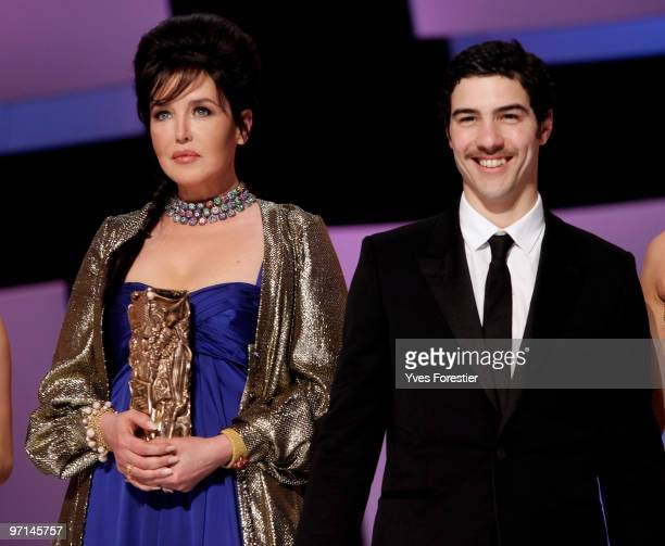 Actress Isabelle Adjani best Actress 2010 and ActorTahar Rahim Best Actor 2010 pose after the show at the 35th Cesar Film Awards held at the Theatre...