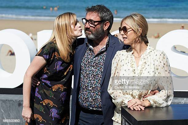Actress Isabelle Carre actor Sergi Lopez and actress Karin Viard attend the '21 Nuits Avec Pattie' photocall at the Kursaal Palace during the 63rd...