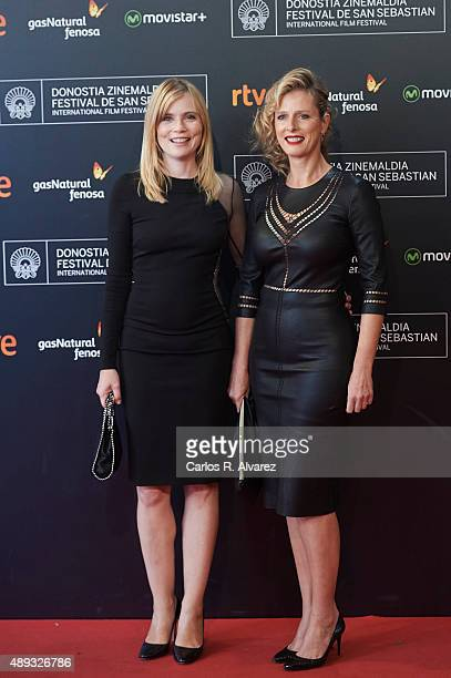 Actress Isabelle Carre and Karin Viard attend the '21 Nuits Avec Pattie' premiere at the Kursaal Palace during the 63rd San Sebastian International...