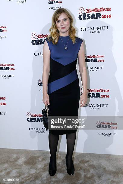 Actress Isabelle Carre attends the 'Cesar Revelations 2016' Photocall at Chaumet followed by a dinner at Hotel Meurice on January 11 2016 in Paris...