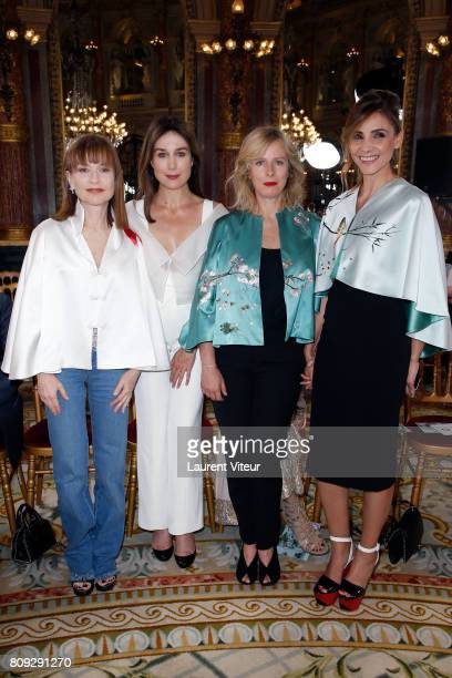 Actress Isabelle Huppert Actress Elsa Zylberstein Actress Karin Viard and Actress Clotilde Courau attend the Lan Yu Haute Couture Fall/Winter...