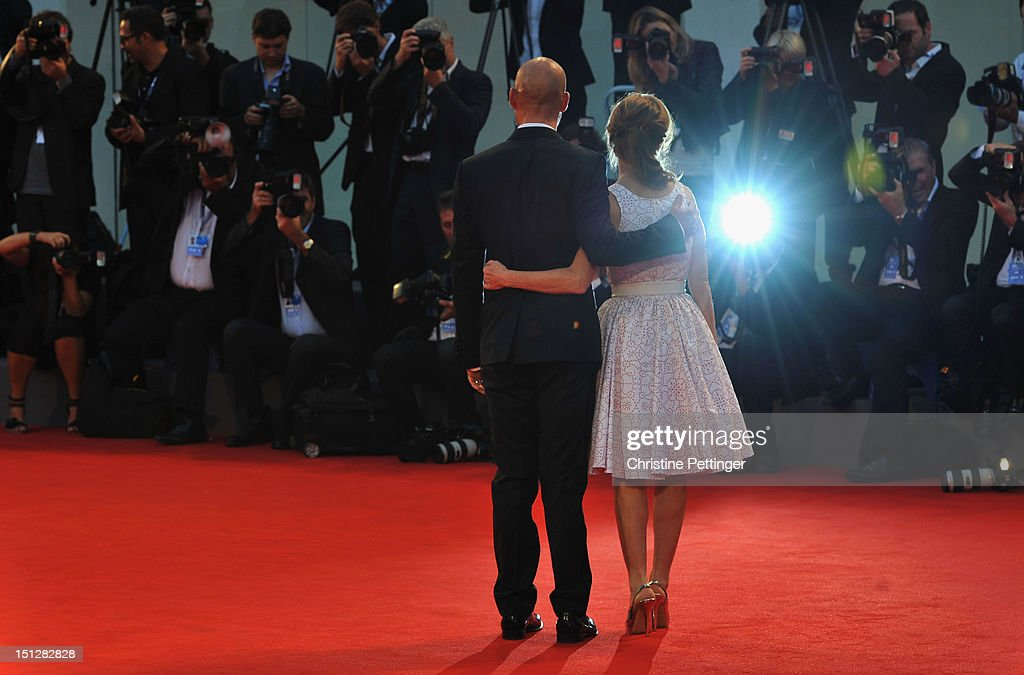 Actress Isabelle Huppert and actor Gian Marco Tognazzi attend the 'Bella Addormentata' Premiere during The 69th Venice Film Festival at the Palazzo del Cinema on September 5, 2012 in Venice, Italy.