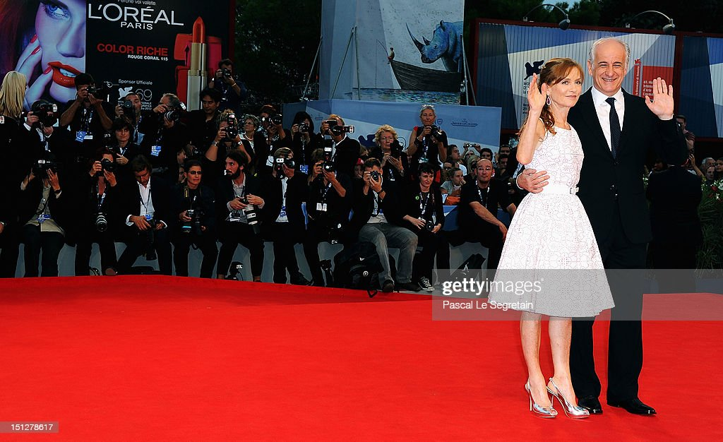 Actress Isabelle Huppert and actor Toni Servillo attend the 'Bella Addormentata' Premiere during The 69th Venice Film Festival at the Palazzo del Cinema on September 5, 2012 in Venice, Italy.