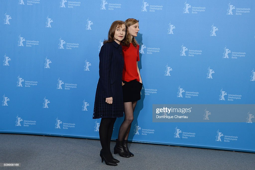 Actresses <a gi-track='captionPersonalityLinkClicked' href=/galleries/search?phrase=Isabelle+Huppert&family=editorial&specificpeople=662796 ng-click='$event.stopPropagation()'>Isabelle Huppert</a> and <a gi-track='captionPersonalityLinkClicked' href=/galleries/search?phrase=Mia+Hansen-Love&family=editorial&specificpeople=5846800 ng-click='$event.stopPropagation()'>Mia Hansen-Love</a> attend the 'Things to Come' (L'avenir) photo call during the 66th Berlinale International Film Festival Berlin at Grand Hyatt Hotel on February 13, 2016 in Berlin, Germany.