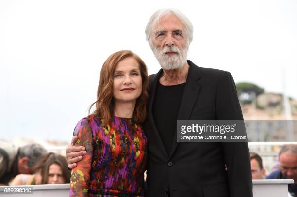 Actress Isabelle Huppert and director Michael Haneke attend the 'Happy End' photocall during the 70th annual Cannes Film Festival on May 22 2017 in...