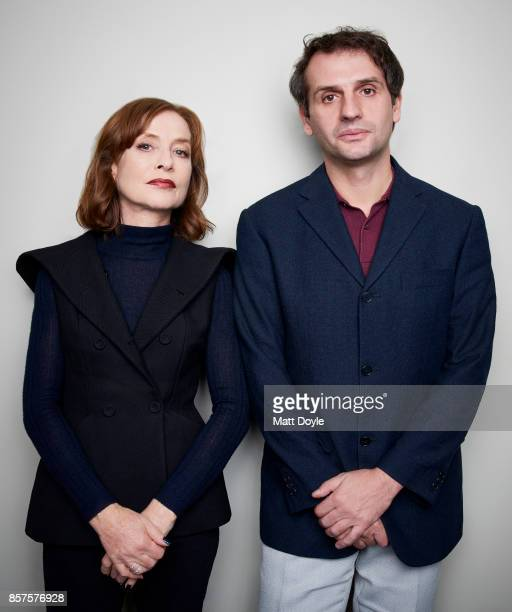 Actress Isabelle Huppert and director Serge Bozon from the film 'Madame Hyde' poses for a portrait at the 55th New York Film Festival on October 1...