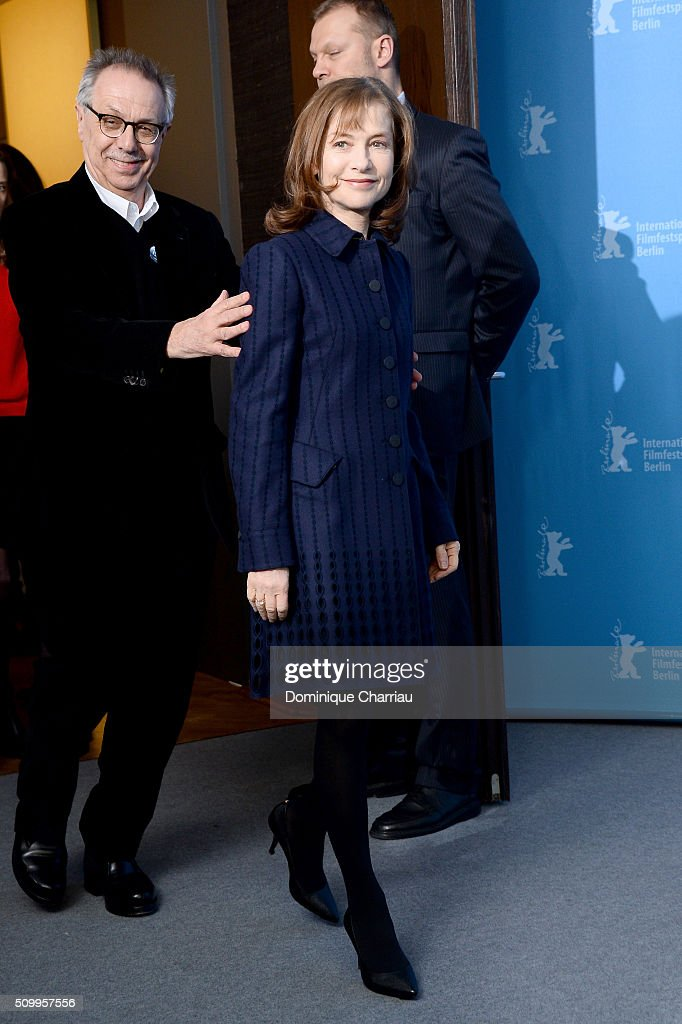 Actress Isabelle Huppert and festival director Dieter Kosslick attend the 'Things to Come' (L'avenir) photo call during the 66th Berlinale International Film Festival Berlin at Grand Hyatt Hotel on February 13, 2016 in Berlin, Germany.
