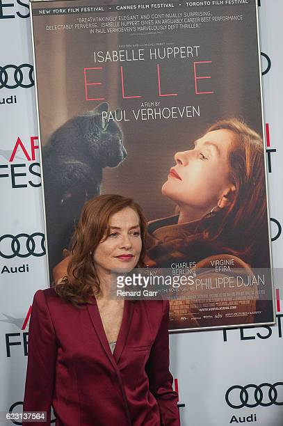 Actress Isabelle Huppert attend a Tribute to Isabelle Huppert and Gala Screening of 'Elle' at the Egyptian Theatre on November 13 2016 in Hollywood...